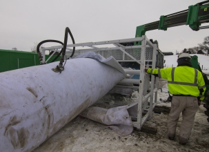Michels installed 180 feet of a cured in place pipe liner into a 60-inch segmental reinforced concrete culvert to restore its hydraulic integrity and repair areas where concrete was spalling and reinforcing steel was exposed.