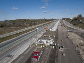 Michels simultaneously rebuilding and widening a 4.4-mile Central and 6.7-mile South segment of the project on a heavily traveled route linking between Chicago and Milwaukee. The roadway is being expanded from three lanes in each direction to four lanes plus widened shoulders.