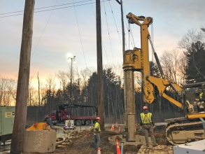Michels Power, Inc. built 15 caissons and completed 12 direct embed installations for structures on a 345kV electrical power transmission line.