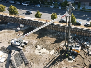 Michels constructed a shoring wall and a permanent foundation wall for a future building using AZ sheet piles.