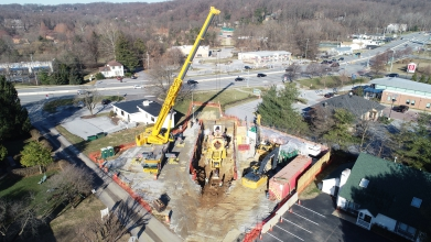 Michels Direct Pipe contractors employed Direct Pipe to install approximately 860 feet of 48-inch steel pipeline underneath the North Pottstown Pike/Highway 100.