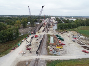 Michels Foundations was contracted to install drilled shafts to support a newly constructed replacement bridge for a Railway Company in Old Monroe, MO.