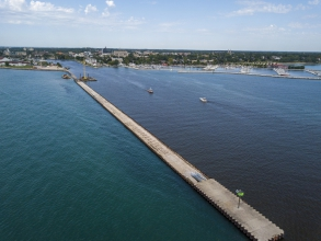 Michels rebuilt 1,250 feet of the South Breakwater of Sheboygan Harbor.