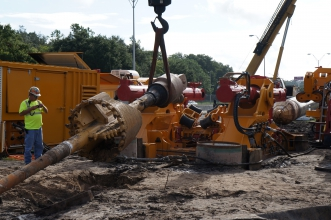 "Michels completed a complex design-build construction project for the Jacksonville Electric Authority performing horizontal directional drilling (HDD), reaming and pullback operations for a 36"" steel water main that spanned 6,575'."