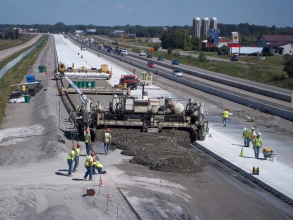Michels constructed 21 miles of 52' wide rural freeway concrete paving.