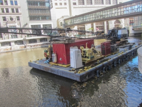 Michels performed a repair of the Riverside Theater dock wall. Heavy rainstorms in Spring of 2020 caused the water levels of the Milwaukee River and Lake Michigan to rapidly rise, placing additional stress on the 1920's wakefield wall and building foundation.
