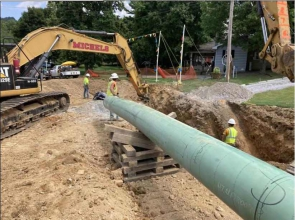 To ensure the existing pipeline remains in compliance with federal regulations to maintain the desired operating pressure, Michels replaced two 20-inch sections of pipeline totaling 3,800 feet, installed a mainline value and performed hydrostatic testing of approximately 5,400 feet of pipeline to confirm class location.